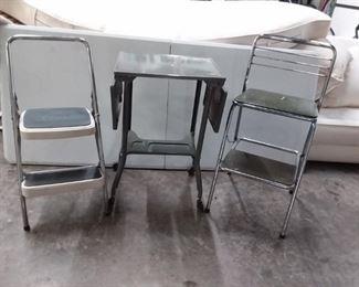 Chair, Step Stool, Metal Drop Leaf Table