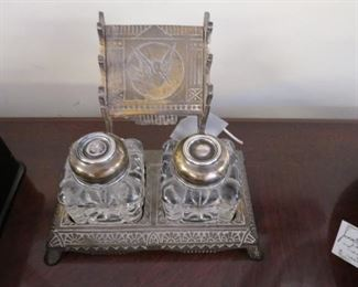 Antique inkwell, glass, brass with sterling silver tops.