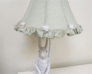 Country French hand painted metal bunny lamp.