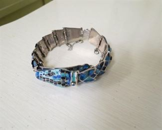 Taxco Mexico sterling silver and enamel serpent bracelet