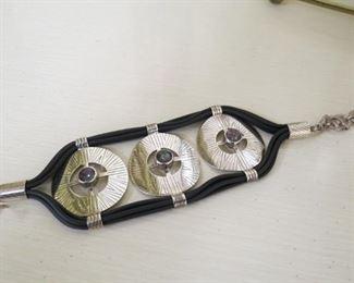 Signed Sajen silver and mystic topaz bracelet.