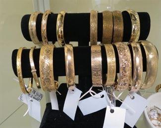 Antique and vintage gold filled bangle bracelets.