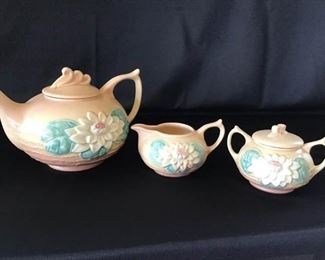 004 Hull Art Ceramic Teapot and Cream and Sugar