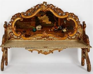 19th C. Paint Decorated Continental Carved Bench
