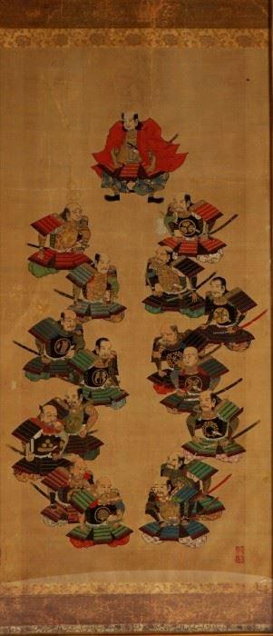 19th Century Japanese Samurai and Generals Scroll