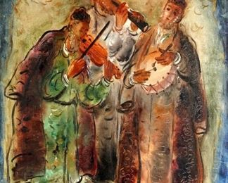 Reuven Rubin The Musicians of Safed Oil Canvas