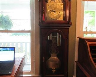 The grandfather clock is in perfect condition and is a Heritage clock.  It chimes beautifully.