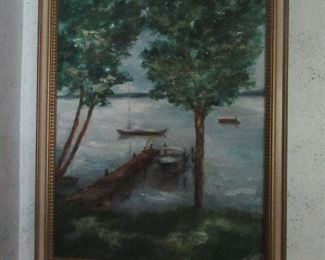 Oil on Canvas by N. Clabeil or N. Clabein  1978  It depicts a lake scene with boats.