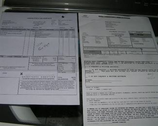 recent receipts for new tires and  air conditioner  check