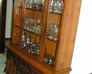 china cabinet full of glassware - silverplate - sterling