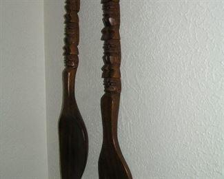 wooden fork & spoon 3 feet long