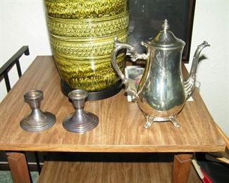 sterling candles & 800 coin silver teapot