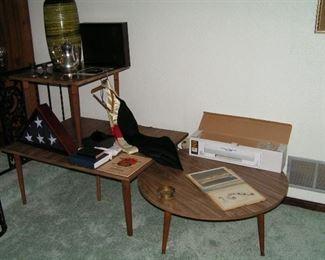 mid-century tables & lamp
