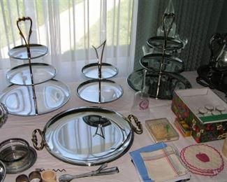 chrome serving trays