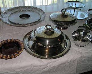 aluminum & silver  serving pieces