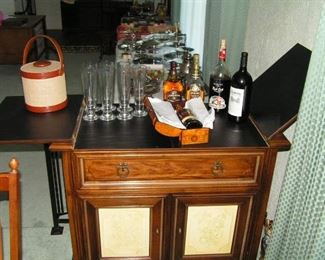 bar with bottles of liquid