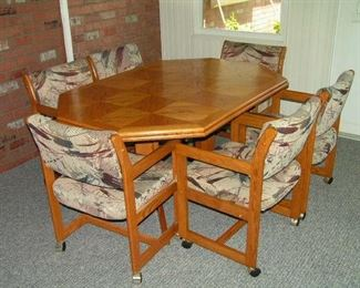 all wood dinette  with 6 chairs