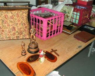 sewing basket & metal statues of Paul Revere