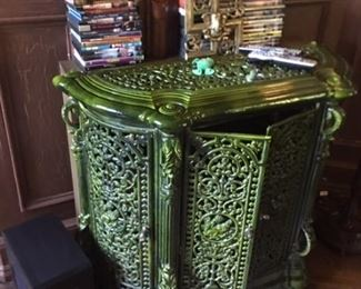 Antique cast iron green enamel cabinet
