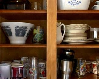 Cabinets filled with glassware, china, pots & pans