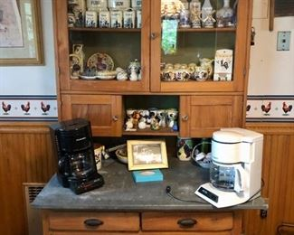 Vintage collectibles in every corner! Kitchen hutch with tin table & retro collectibles