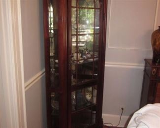 Pair Stunning  Mahogany Lighted Display Cabinet