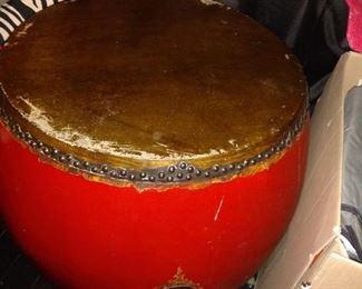 1960 Sarried drum table water buffalo skin.