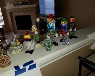 Murano Italian glass clowns