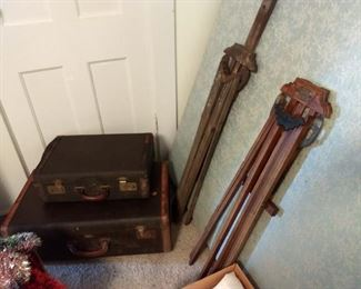 Vintage suitcases and drying racks with advertising