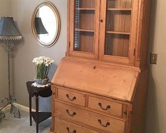 Gorgeous Secretary Dresser Cabinet • Bombay Swivel End / Side / Accent Table • Floor Lamp • Decorators Mirror