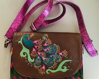 Catchfly leather and embroidered purse
