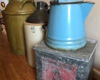 Crocks, tins and Alexandria Dairy Milk Can.
