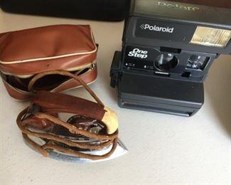 Travel Iron and Polaroid Camera.