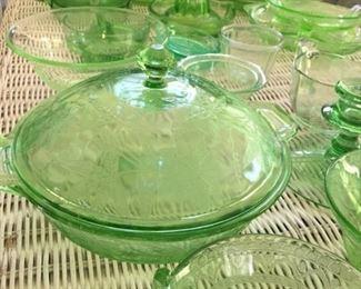 Green Depression Glassware.