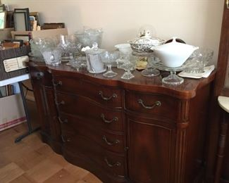 Buffet and Large selection of glassware.