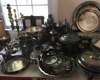 Silverplate and brassware.