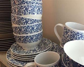 Blue and white china.
