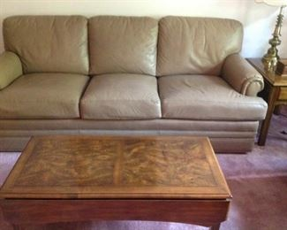 Leather Sofa in Very Good Condition and a Drop Leaf Cocktail Table