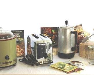 Retro Kitchen Appliances -Toaster, Percolator, Hand Mixer, Crock Pot (Avocado Green) and Cookbooks