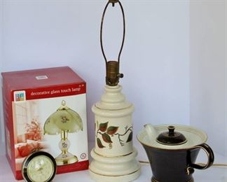 Vintage wind-up Alarm Clock, New Glass Touch Lamp, Halls Black Teapot