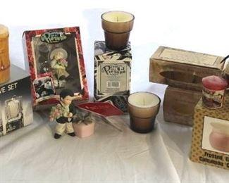 Candles, Larry Laslo votive set, collectible Enesco ornaments