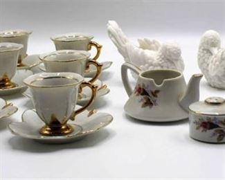Elegant Vintage Tea Set and Pair of Dove Figurines