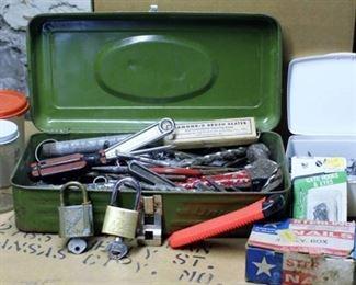 Vintage Green Union Tool Box - Full of tools