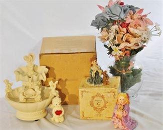 Beautiful AVON Cherub Fountain, Yesterday's Child Figurine, Ganz Angel Figurine, Vase w/flowers