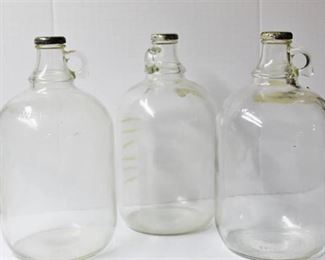 (3) One Gallon Glass Jugs - Vintage
