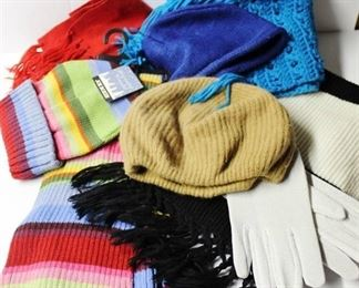 Be ready for winter! 2 hats, 3 scarves, 1 pr of gloves