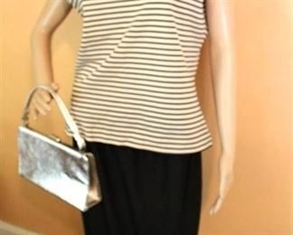Cute Retro Outfit - Black Skirt and Sleeveless Striped Top w/ silver clutch purse