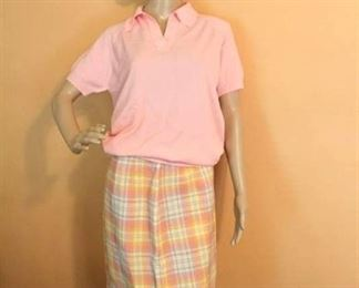 Cute Plaid Skirt with Pink Pointelle detail Sweater