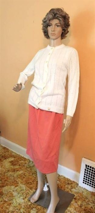 Rose Colored Skirt Size 16 and White Cardigan Sweater