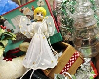 Vintage Christmas Lot - Retro Angel Tree Topper and much more